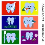 a tooth with a toothbrush  sick ... | Shutterstock .eps vector #1170649990