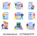 colorful flat set with phone... | Shutterstock .eps vector #1170660379