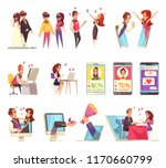 virtual and real love set with... | Shutterstock .eps vector #1170660799