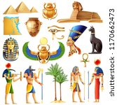 egypt symbols set in cartoon... | Shutterstock .eps vector #1170662473