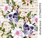 human skulls with white flowers ... | Shutterstock . vector #1170665953