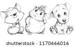 a sketch of cute little animals.... | Shutterstock . vector #1170666016