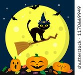 a halloween cat in a witch hat... | Shutterstock .eps vector #1170669949