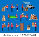 funny pizza delivery boy funny... | Shutterstock .eps vector #1170670690