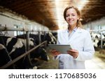 Stock photo waist up portrait of cheerful female veterinarian smiling looking at camera while using digital 1170685036