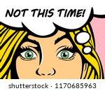 pop art blonde woman with blue... | Shutterstock .eps vector #1170685963
