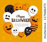 happy halloween card with... | Shutterstock .eps vector #1170686473