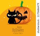 happy halloween card with black ... | Shutterstock .eps vector #1170686479