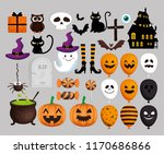 happy halloween card with set... | Shutterstock .eps vector #1170686866