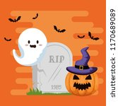 happy halloween card with gosth | Shutterstock .eps vector #1170689089