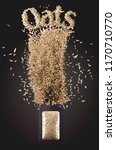 focused oats seeds fly out from ... | Shutterstock . vector #1170710770
