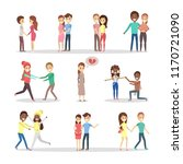 set of cute romantic couples in ... | Shutterstock .eps vector #1170721090