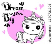 little unicorn  with hand... | Shutterstock .eps vector #1170721303