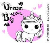 little unicorn  with hand... | Shutterstock .eps vector #1170721303