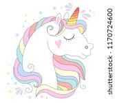 white unicorn head vector... | Shutterstock .eps vector #1170724600