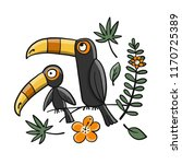 toucans  paradise tropical bird ... | Shutterstock .eps vector #1170725389