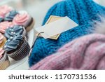 knitted hat on the table with... | Shutterstock . vector #1170731536