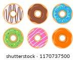 colorful glazed assorted donut... | Shutterstock .eps vector #1170737500