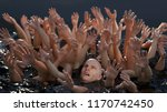 man tries to save himself among ...   Shutterstock . vector #1170742450