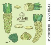 collection of wasabi  root ... | Shutterstock .eps vector #1170750169