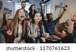 multi ethnic supporters watch...   Shutterstock . vector #1170761623