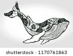 a drawn whale with flowers and... | Shutterstock .eps vector #1170761863