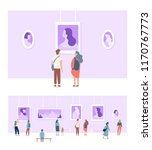 art gallery. people looking at... | Shutterstock .eps vector #1170767773