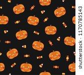 vector cute seamless halloween... | Shutterstock .eps vector #1170785143
