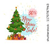 christmas tree decorated vector ... | Shutterstock .eps vector #1170787963