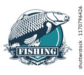 carp fish. fishing club sign or ... | Shutterstock .eps vector #1170796426