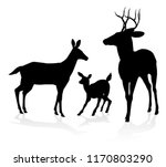 Deer Animal Family Silhouettes. ...
