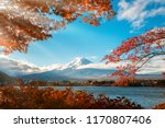 colorful autumn in mount fuji ... | Shutterstock . vector #1170807406