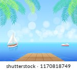sail boat with white canvas... | Shutterstock .eps vector #1170818749