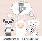 little cute llama  panda and... | Shutterstock . vector #1170830050