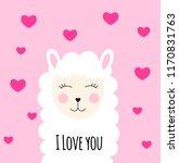 little cute llama with heart... | Shutterstock . vector #1170831763