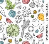 fun vegetables seamless pattern.... | Shutterstock . vector #1170835156