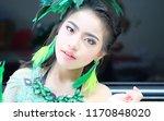 asian girl makeup and wearing... | Shutterstock . vector #1170848020