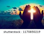 human hands open palm up worship | Shutterstock . vector #1170850219