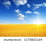 wheat field and sun in the sky  | Shutterstock . vector #1170852169