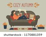 cozy autumn. woman reading book ... | Shutterstock .eps vector #1170881359