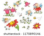 set of cartoon fairies insects  ... | Shutterstock .eps vector #1170890146