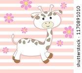 cute cartoon giraffe on colored ... | Shutterstock .eps vector #1170891010