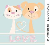 lovely kitty and puppy with... | Shutterstock .eps vector #1170891436