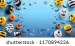 halloween blue background with... | Shutterstock .eps vector #1170894226