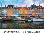 nyhavn at sunrise  with... | Shutterstock . vector #1170896386