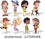 group of cute happy cartoon kids | Shutterstock .eps vector #117090448