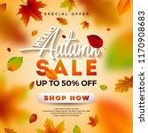 autumn sale design with falling ... | Shutterstock .eps vector #1170908683