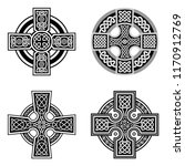 decorative celtic crosses | Shutterstock .eps vector #1170912769