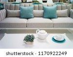 sofa with pillows. | Shutterstock . vector #1170922249