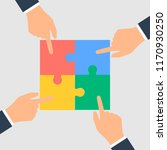 business hands putting puzzle... | Shutterstock . vector #1170930250